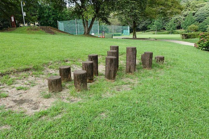 白尾山公園の遊具「丸太ステップ」