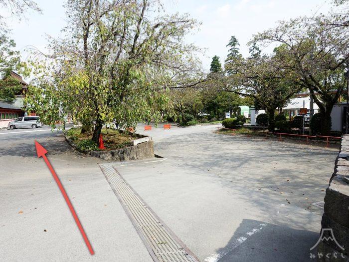 富士山本宮浅間大社のお祓いの方用駐車場(駐輪場)までの道案内